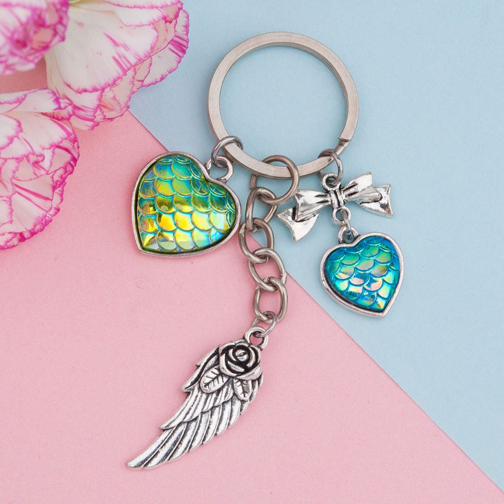 Doreen Box Zinc Based Alloy Silver Tone Key Chain AB Color Mermaid Dragon Scale Cabochon Silver Wing Pendant Fashion Jewelry,1PC