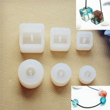 Купить с кэшбэком 6pieces/set Silicone Mold square ball beads with hole Resin Silicone Mould handmade DIY Craft Jewelry Making epoxy resin molds