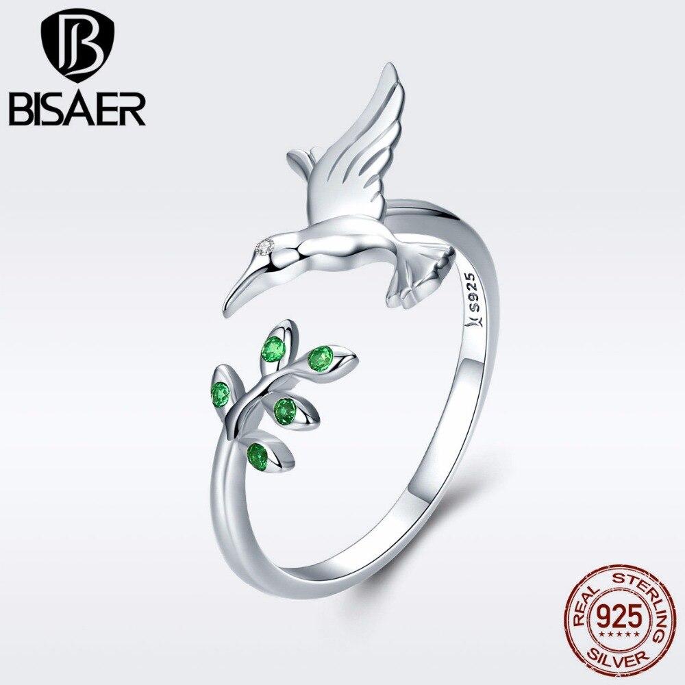 1dd147393026 Plata esterlina 925 pájaro hojas de árbol de los colibríes anillo de dedo  ajustable para mujeres de moda anillo de compromiso joyería de ECR323