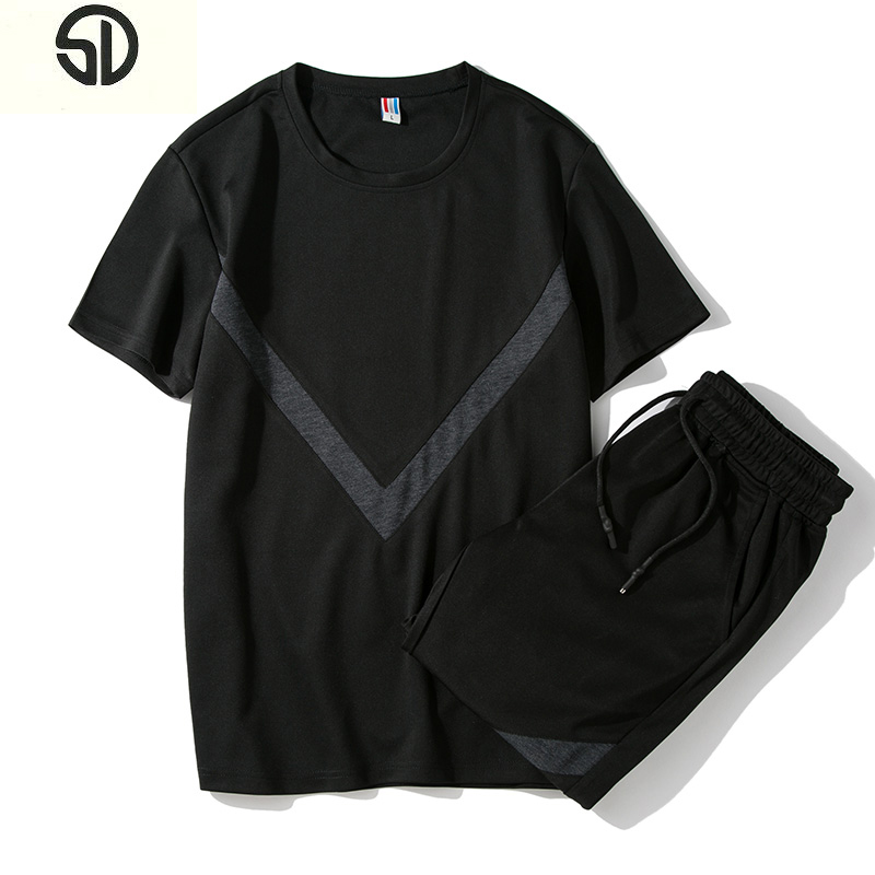 New Tracksuit Men Two Piece Set Men Tee Sleeve and Sweatpants Fashion Mens New Causal Sportswear Tops Chandal Hombre Completo