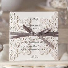 wholesale 10pcslot laser cut wedding invitations elegant wedding invitations ribbon invitation cards - Fancy Wedding Invitations