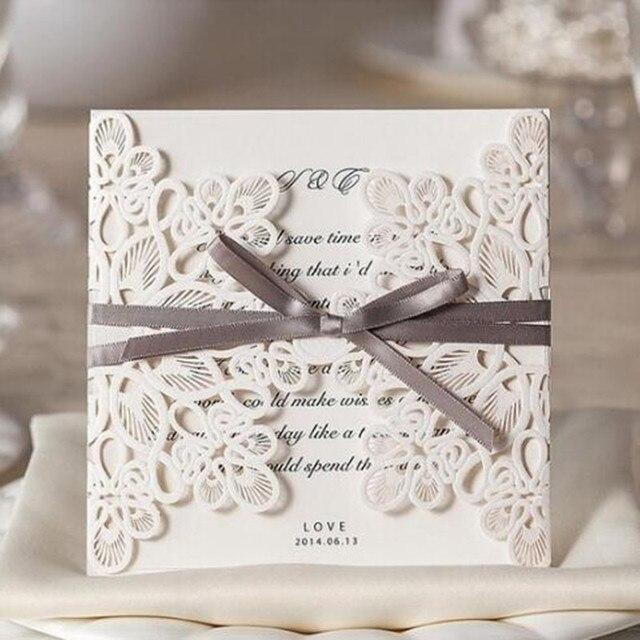 الجملة 10 قطعةالوحدة قص الليزر دعوات الزفاف أنيقة دعوات الزفاف