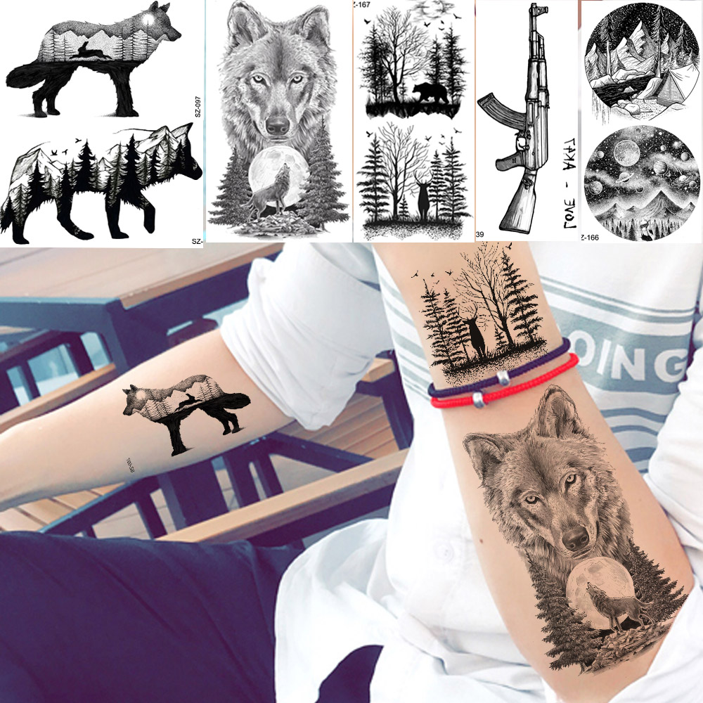 YURAN Men Fashion Black Tattoo Stickers Little Peak Wolf Temporary Tattoo Women Body Art Painting Forearm Waterproof Tatoos Moon
