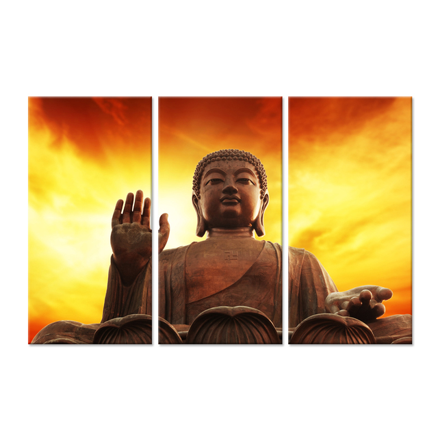 3 Pieces Canvas Wall Art Wood Peaceful Buddha Statue Yellow Orange ...