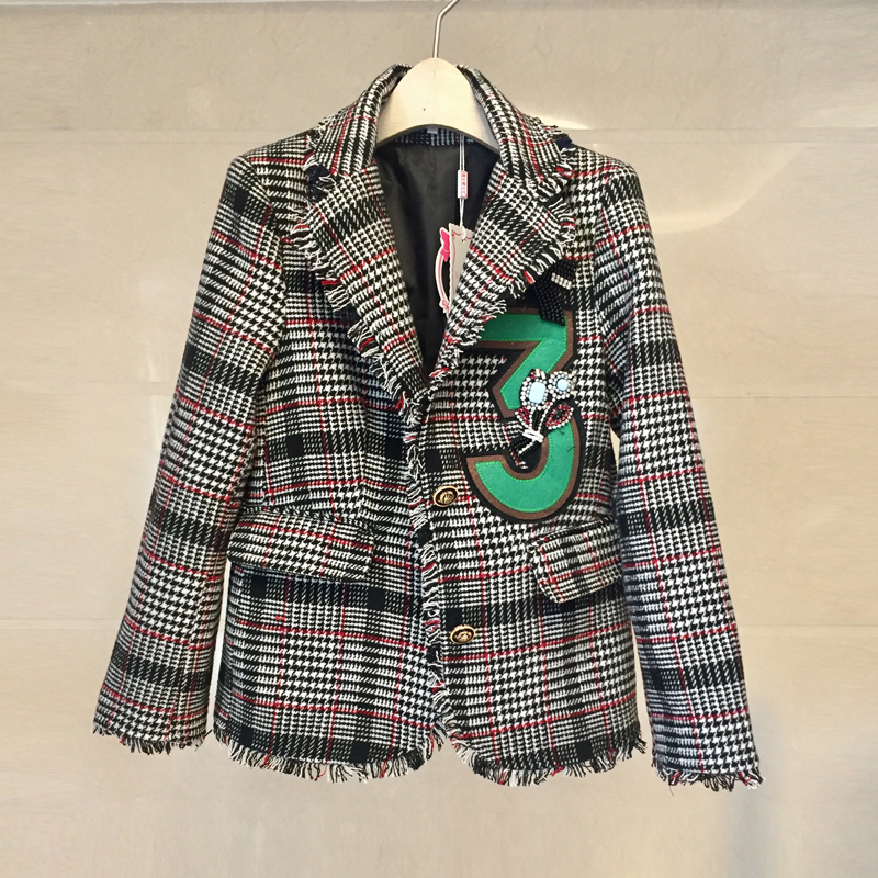 British Style Women Runway Diamonds Wool Tweed Jacket Coat Notched Golden Single Beasted Plaid Tassels Basic