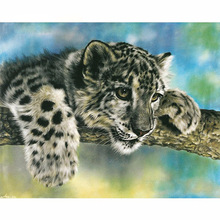 hot deal buy 5d diy diamond painting leopard cross stitch animal lovely leopard needlework home decorative 3d square full diamond embroidery