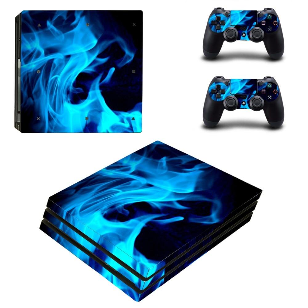 Наклейка на кожу синего огня дьявола PS4 Pro для консоли Sony PlayStation 4 и 2 контроллера PS4 Pro виниловая наклейка на кожу