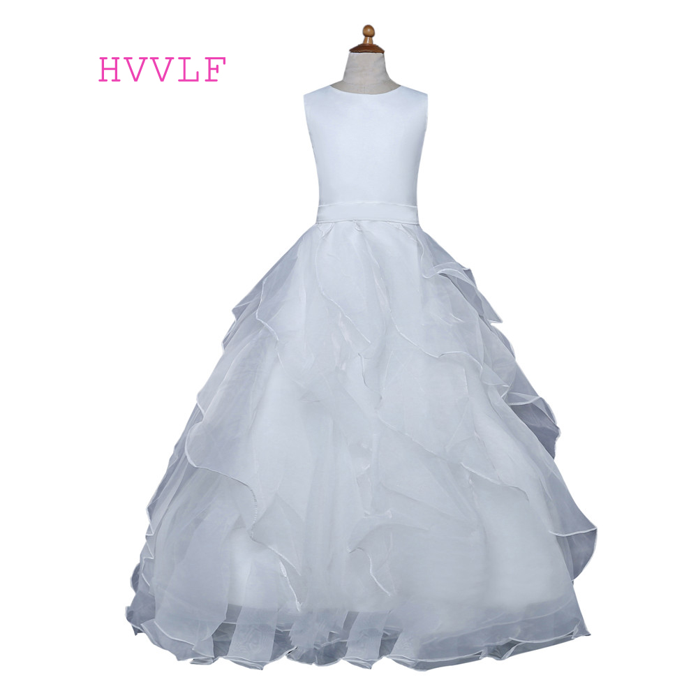 White 2019   Flower     Girl     Dresses   For Weddings Ball Gown Cap Sleeves Organza Ruffles First Communion   Dresses   For Little   Girls