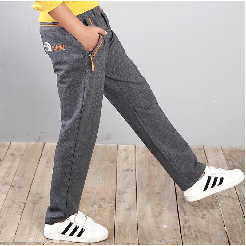 Primavera roupas de marca adolescente boy sweatpants calças grandes do menino 8-16 anos tamanho das crianças meninas lazer calça cinza estilo unisex