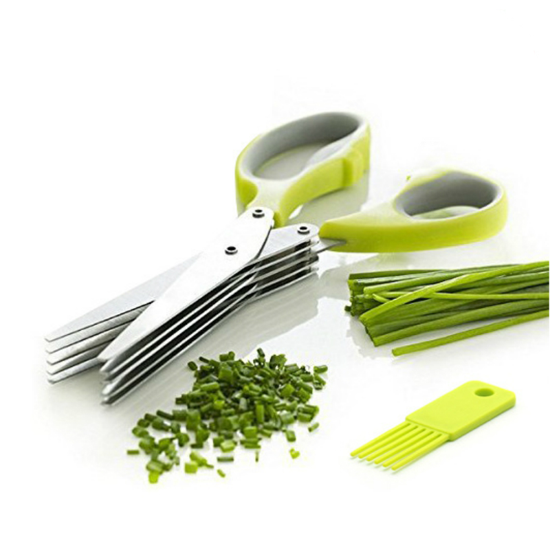 Stainless Steel Kitchen Knives 5 Layers Scissors Sushi Shredded Scallion Cut Herb Spices Durable Scissors Cooking Tools