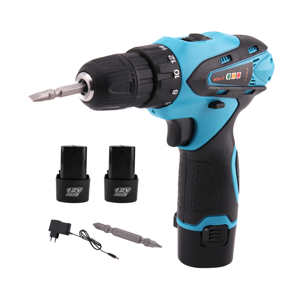 BORUiT Electric Screwdriver Cordless Electric Drill Multi function Power Tools with 2 Rechargeable 12V Lithium Battery