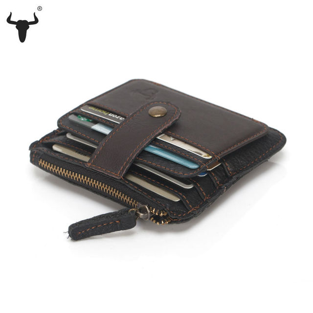 FAMOUSFAMIL Mini Wallet Coin Card Bags Genuine Leather Purse Designer Clutch Slim Thin Money Bag Coin Pocket Gifts For Men Women