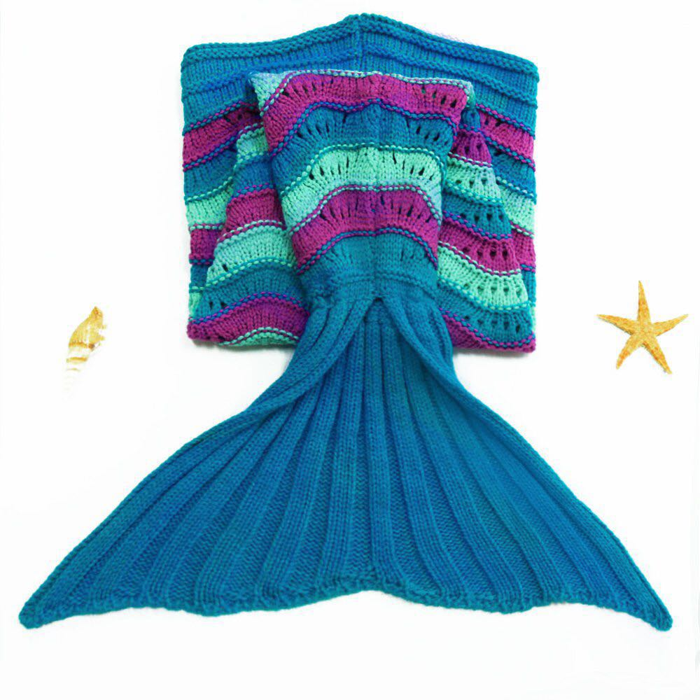Kid 90x45cm Mixed Color Mermaid Tail Blanket Wool Yarn Knitted Warm  Sleeping Sofa Little Fish Style Creative Girl Princess Gift In Blankets  From Home ...