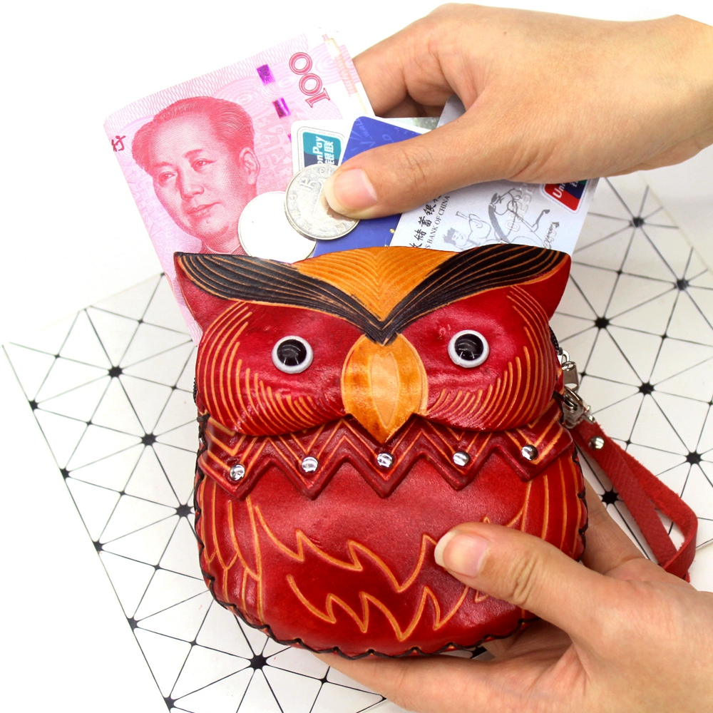 Vintage Genuine Leather Coin Purses Women Cute Wristlet Zipper Change Purse Cowhide Carving Owl Girls Coin Wallet Kids Pouch Bag
