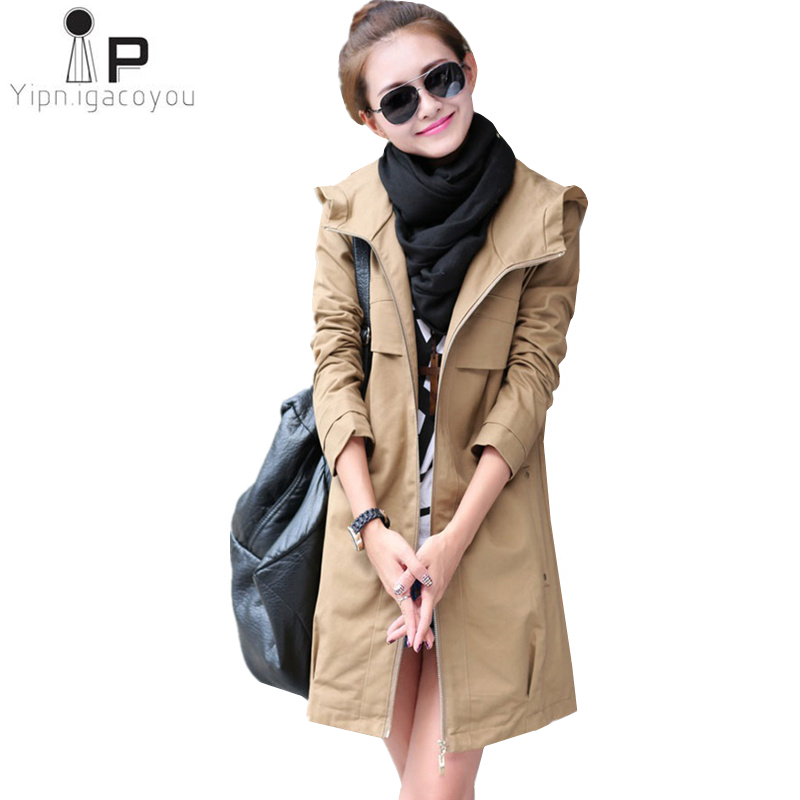 New Fashion Plus Size Women Coat 2019 Spring Autumn Casual Hooded Long   Trench   Coat Female Slim Thin windbreaker Outerwear 4XL