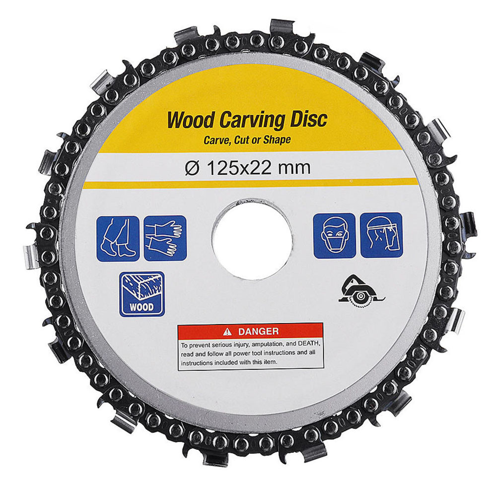 5 Inch Grinder Chain Disc Arbor 14 Teeth Wood Carving Disc For 125mm Angle Grinder ALI88