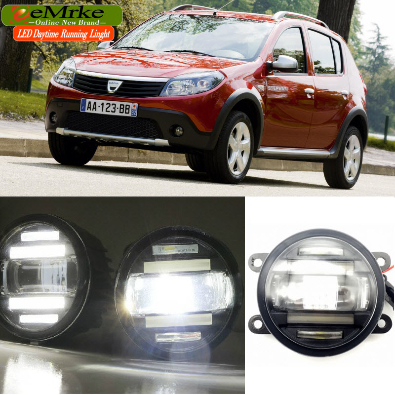 eeMrke Car Styling For Dacia Renault Sandero 2008-2016 2 in 1 LED Fog Lights DRL with Lens Daytime Running Lights eemrke car styling for opel zafira opc 2005 2011 2 in 1 led fog light lamp drl with lens daytime running lights