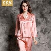Одежда высшего качества Дамы Вышивка 100% шелк домашний костюм пижама Атлас Femme 2019 с длинными рукавами удобные мягкие Ночная Пижама комплект