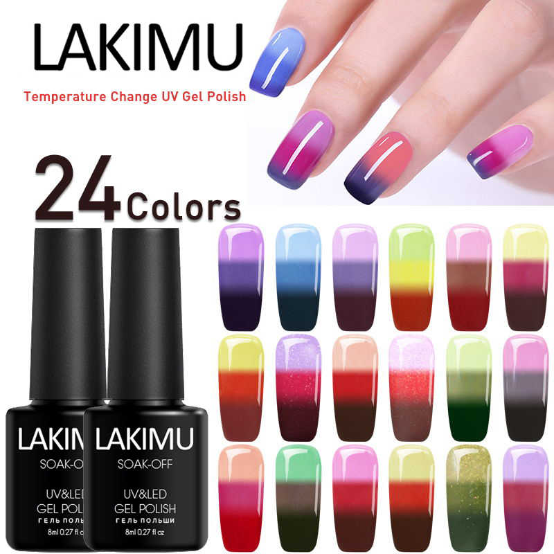 LAKIMU Nails Art UV Gel Varnishes Temperature Change Color Gel Nail Polish Long Lasting Soak Off Chameleon Thermo Gel Lacquer