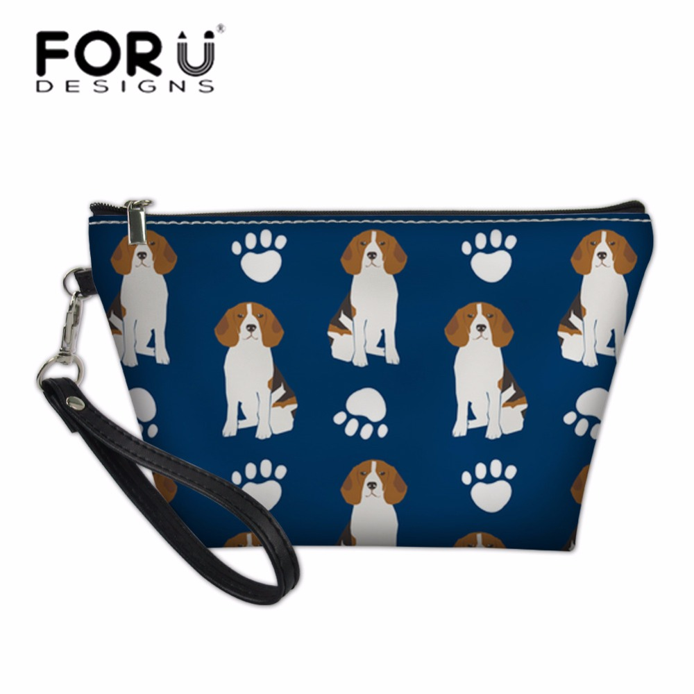 FORUDESIGNS Women Make Up Bags Ladies Beagles Dog Printing Cosmetic Bags For Girls Cute School Pencil Box Makeup Case Bolsa
