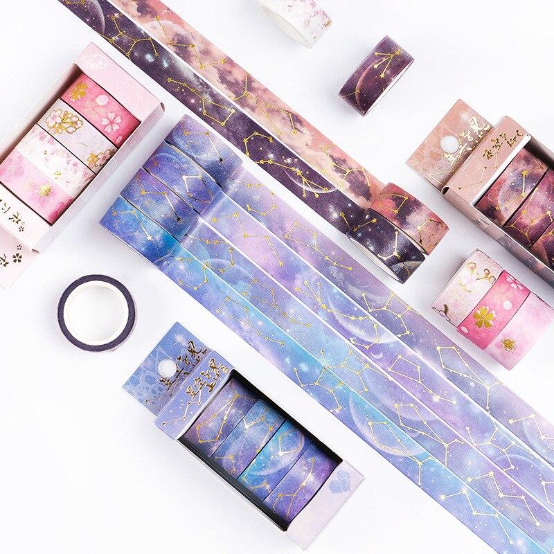 4 Pcs/pack Cherry Sakura Starry Sky Gilding Bullet Journal Washi Tape Set Adhesive Tape DIY Scrapbooking Sticker Label Masking