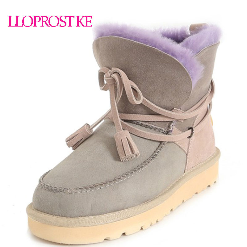 LLOPROST KE Women Winter Snow Boots Warm Thick Fur Lining Woman Shoes Platform Flat Heel Ankle Boots Woman Botas Mujer MY070 vtota women winter boots hot warm fur snow boots flat platform shoes women botas mujer ankle boots slip on shoes for women c72