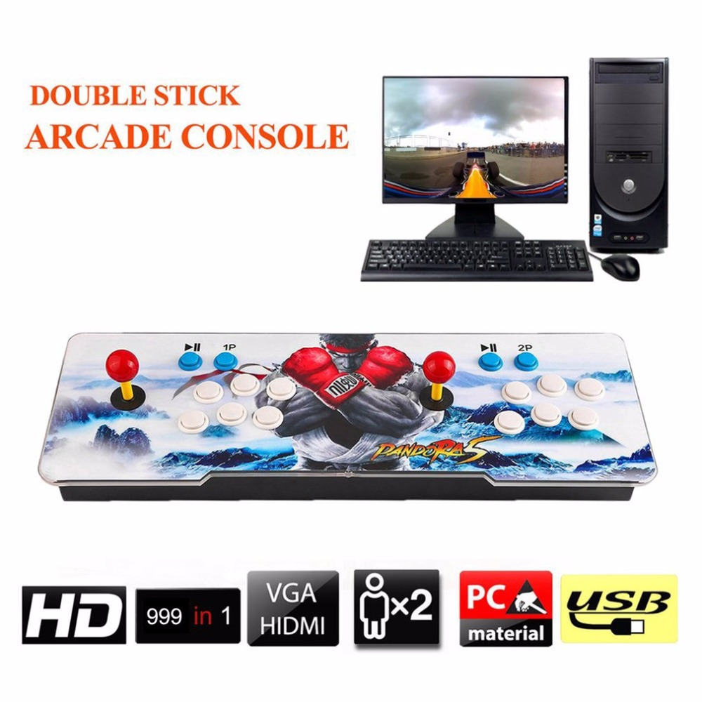 цена на 999 In 1 Home TV Monitor Multiplayer Arcade Game Console Controller Kit Set Double Joystick Console Support HDMI VGA