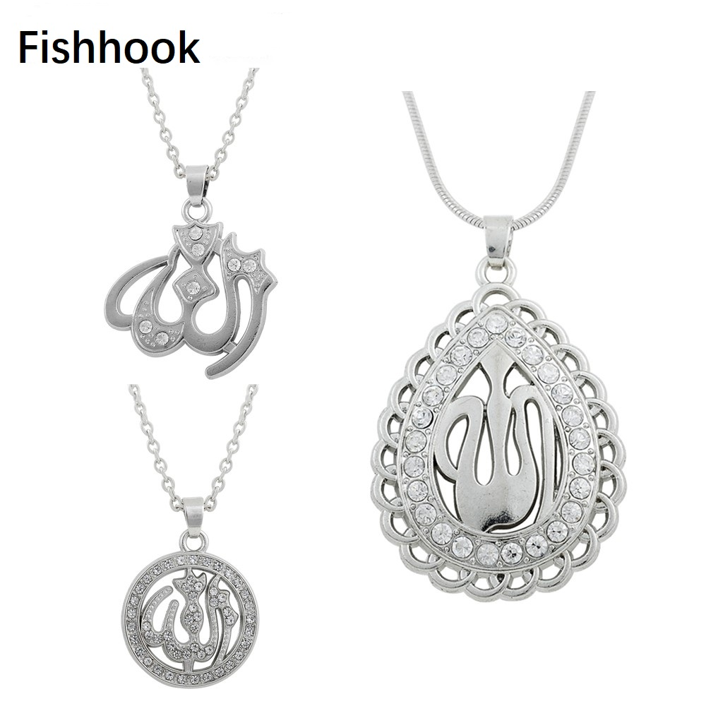 Fishhook Crystal Muslim Islam Allah Pendant Rhinestone Ethnic Necklace Drops of Water Vking Fashion Jewelry For Women Gifts image