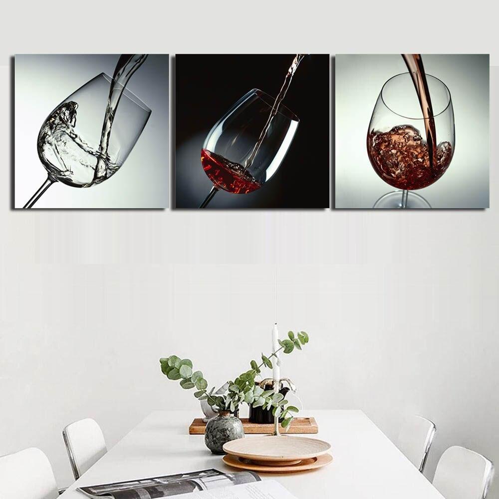 3 Panel Rotwein Glas Wand Kunst Leinwand Malerei Gestreckt und Eingerahmt Becher Poster Bild für Küche Esszimmer Wand decor