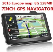 2016 nuevo 7 pulgadas HD Car TRUCK Navegador GPS 800 MHZ FM/8 GB/DDR 128 M Nuevo mapas de Rusia/Bielorrusia/Kazajstán Europa/EE. UU. + Canadá CAMIÓN