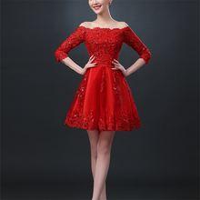 Новое красное строгое платье невесты с вырезом лодочкой и рукавом