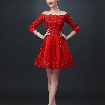 New Red Bridesmaid Dresses Elegant Boat Neck Bride Gown with Sleeve Appliques Ball Prom Party Homecoming/Graduation Formal Dress 2016 new lace evening dresses with cap sleeve flower red bride gown ball prom party homecoming graduation princess formal dress