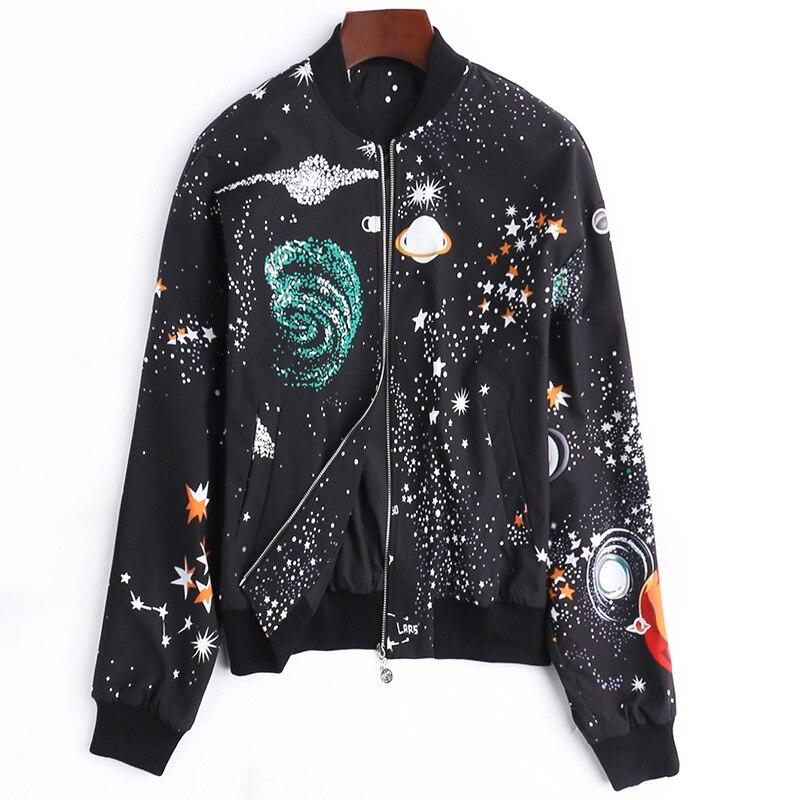 Casual Fashion Starry Print Women's Spring Jacket New Arrival 2018 Loose Long Sleeve Basic Bomber Jacket & Zipper Jackets Female laundry by shelli segal new red long sleeve zipper jacket 2 $149 dbfl