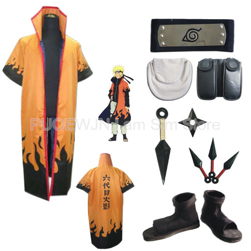 Uzumaki Naruto Cosplay Costume The sixth Hokage rokudaime Hokage Whole Set