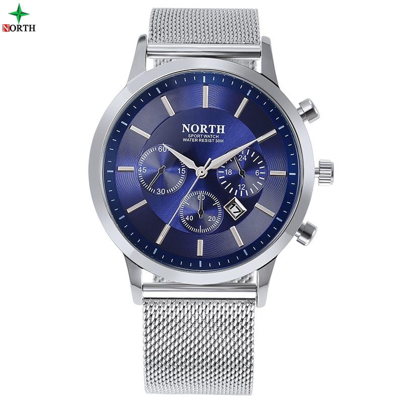 Moda casual del norte hombres reloj único azul acero cuarzo - Relojes para hombres