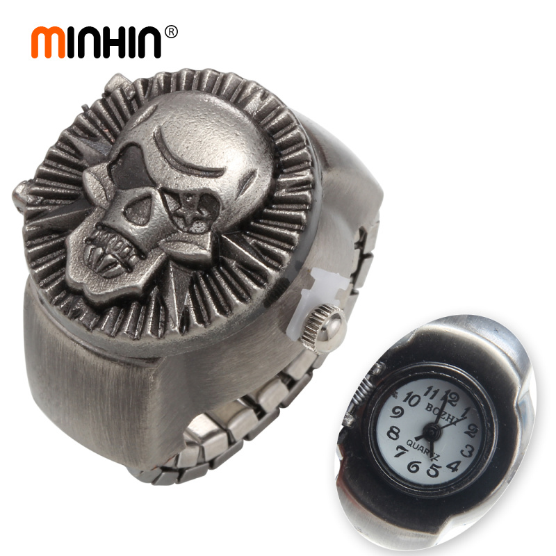 MINHIN Punk Ring Watch For Men Skull Ring Watches Fashion Casual Elastic Finger Ring Watch Gift Students Party Jewelry Watch
