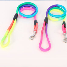 1 Pcs Nylon dog chains Belt New Collars Colorful colors Pet Dog Traction Rope Rainbow Weave Round Training Leashes