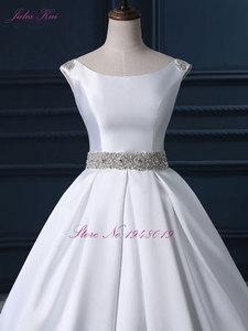 Image 2 - Julia Kui High end Custom Elegant Satin Wedding Dresses  Scoop Neckline With Beading Sash Ball Gowns Robe de Mariage Plus Size