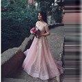 Robe de soirée Longo Mangas Lentejuelas Con Cuentas de Baile Vestido Rosa Mujeres de Compromiso Formal Del Partido Vestido de Encaje Vestidos de Noche Elegantes