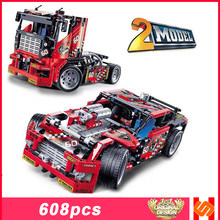 Compatible Legoingly Technics Decool 3360 Race Truck Car 2 In 1 Transformabl Building Blocks Bricks Kids Educational Toys Gifts(China)