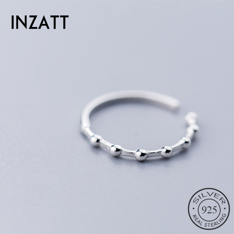 INZATT <font><b>Real</b></font> <font><b>925</b></font> Sterling Silver Minimalist Bead Opening <font><b>Ring</b></font> <font><b>For</b></font> Attractive <font><b>Women</b></font> Party Punk <font><b>Ring</b></font> Fine Jewelry Accessories 2019 image