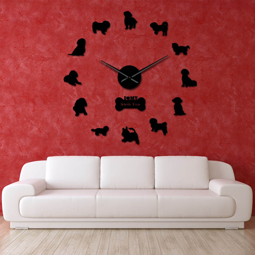 Shih Tzu Dog Oversized DIY Wall Clock Exclusive Mirror Effect Puppy Handmade Laser Cut Wall Watch Self Adhesive Home Decoration