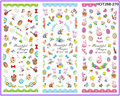 3 PACKS / LOT CARTOON huevo de pascua conejo NAIL STICKER tatuajes etiqueta del agua del arte HOT268-270