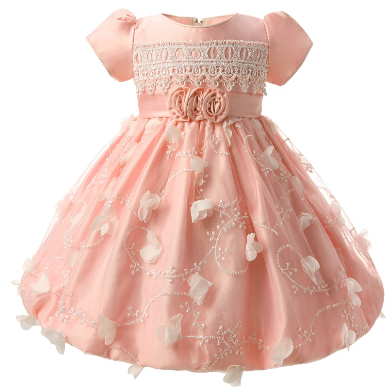 Sweet Pink Baby Dresses Girl Infant Party Costume For Kids Baby Girl 1 Year  Birthday Dress Newborn Toddler Christening Gowns 8217e4c8626a