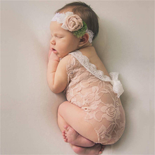 Baby Deep V Bare Back Romper Bowknot Bodysuit Lace Romper Newborn Photography Props Baby Photo Props Infant Photo shoot Girls