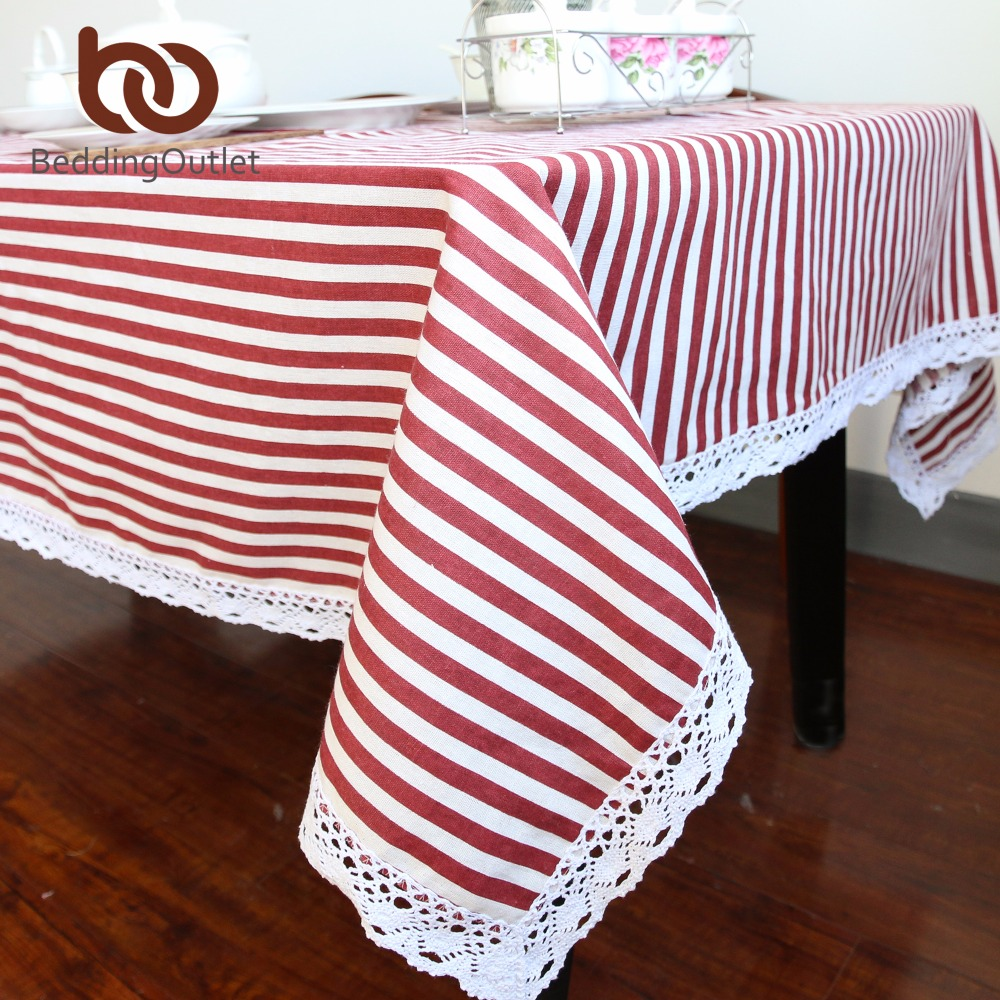 Aliexpress.com : Buy BeddingOutlet Red And White Striped Tablecloth Cotton  Linen Dinner Stripe Table Cloth Macrame Decoration Lacy Table Cover 9 Size  From ...