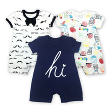 цена на Summer Powered Style Baby Rompers Infant Toddlers Short Sleeve Boy Jumpsuit 100% Cotton Newborn Romper Baby girl boy Clothes Set