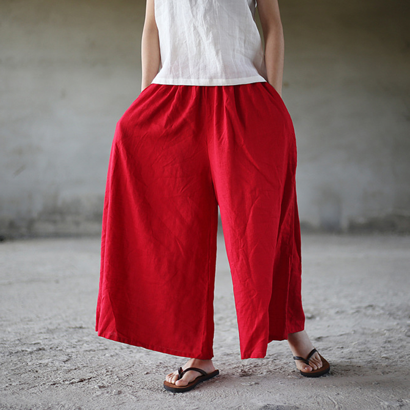 Johnature Summer   Wide     Leg     Pants   2018 New Women Casual Elastic Waist Trouser Pockets Loose Cotton Linen Women Solid   Pants