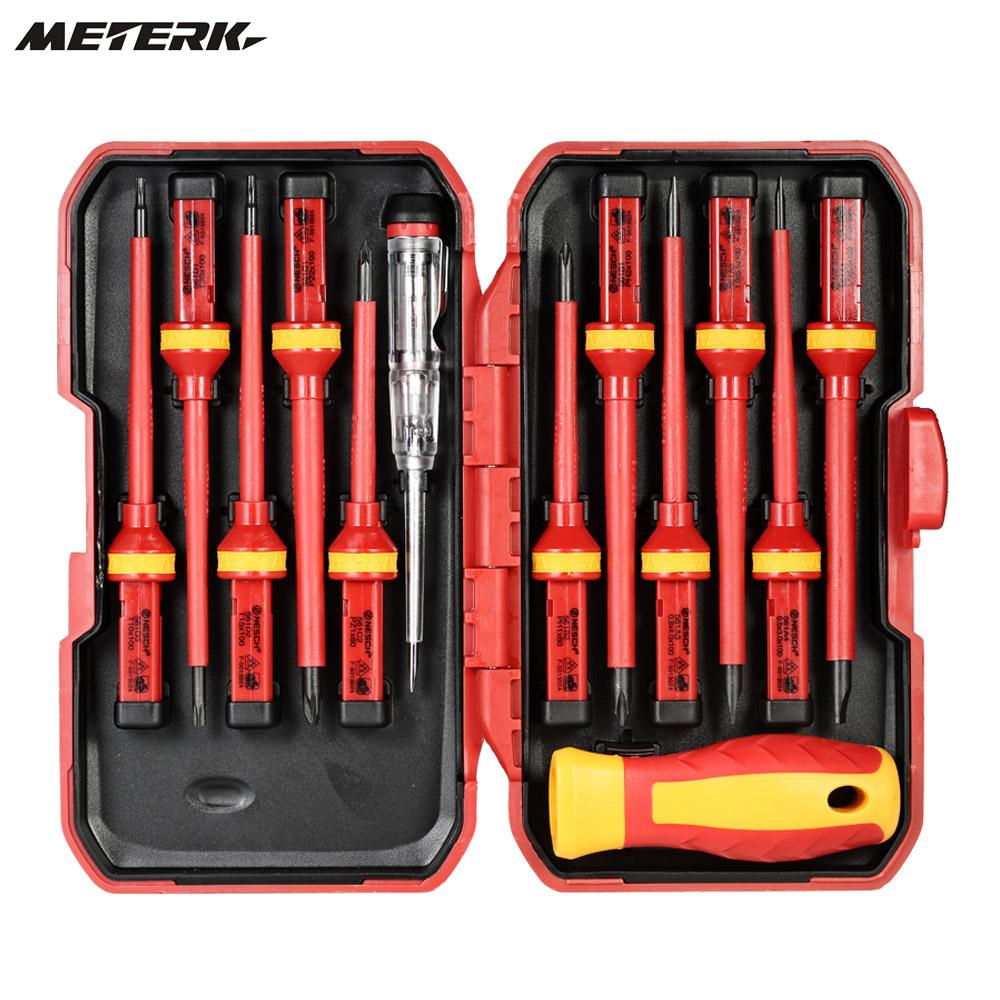 все цены на Meterk 13pcs 1000V Changeable Insulated Screwdrivers Set with Magnetic Slotted Phillips Pozidriv Torx Bits Repair Tools Set