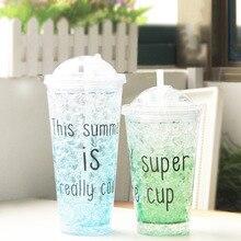 Милые инновационный пластиковый стаканчик соломы двухслойный напиток шейкер с крышкой большой емкости бутылки с водой 550 мл Каваи